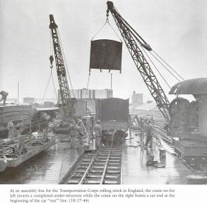 Samenbouw USATC gesloten goederenwagens in Engeland 1944