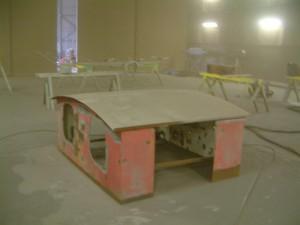 NS 162 cabine wordt gestraald bij de firma Schouten
